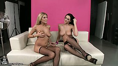 Gorgeous dyke bends over to get dildo banged by her girlfriend