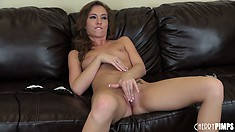 Maddy O'Reilly takes off her thong and gets to work on her cunt