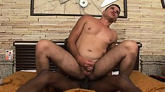 Horny white dude loves to have a huge black dick banging his fiery ass