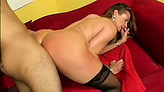 Blonde cougar in black stockings Ivy Love can't resist a young stud with a hard cock