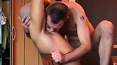 Gay dude loves getting his asshole stretched apart with toys and dick